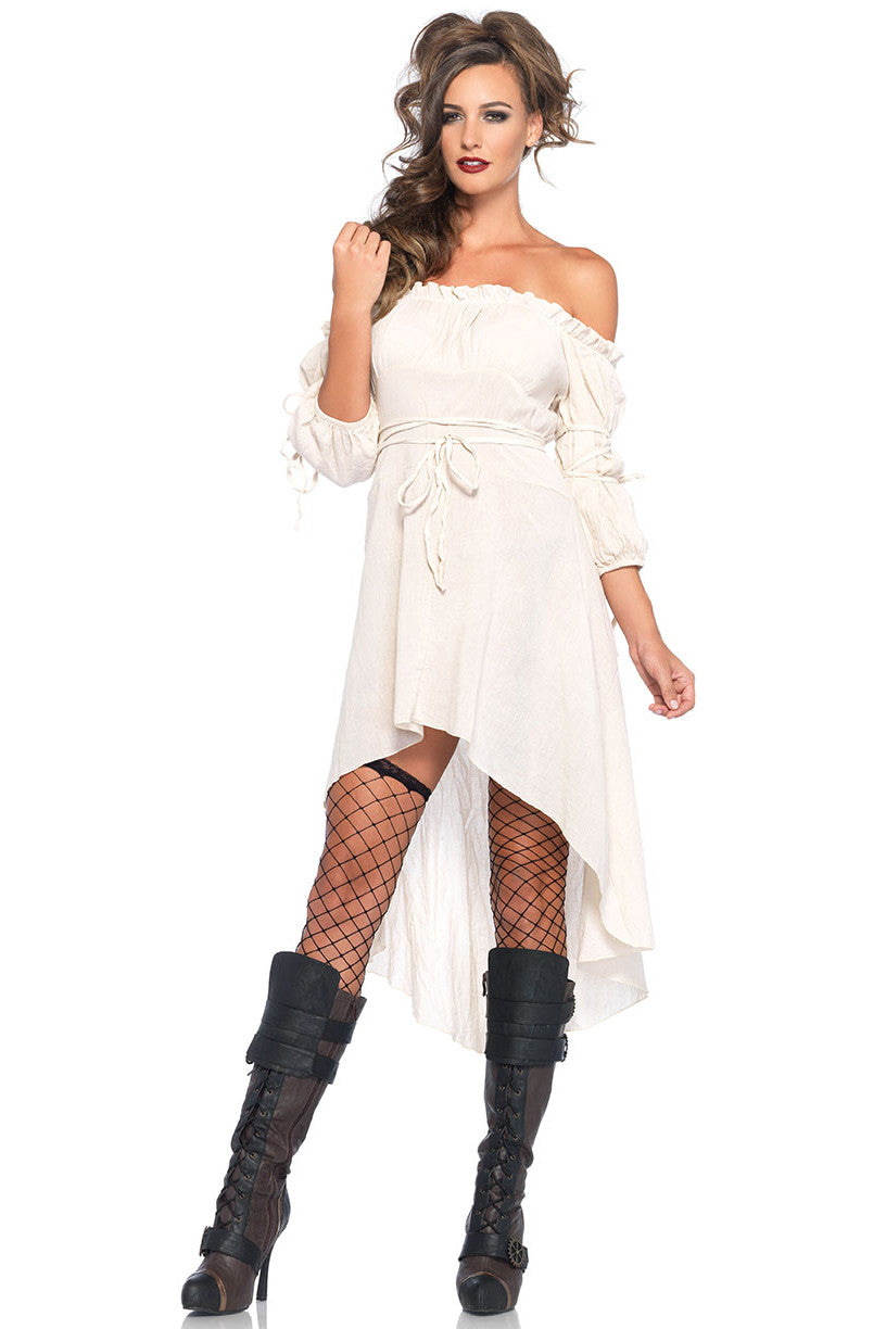 Ivory Gauze Peasant Dress