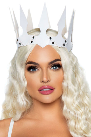 White Faux Leather Crown