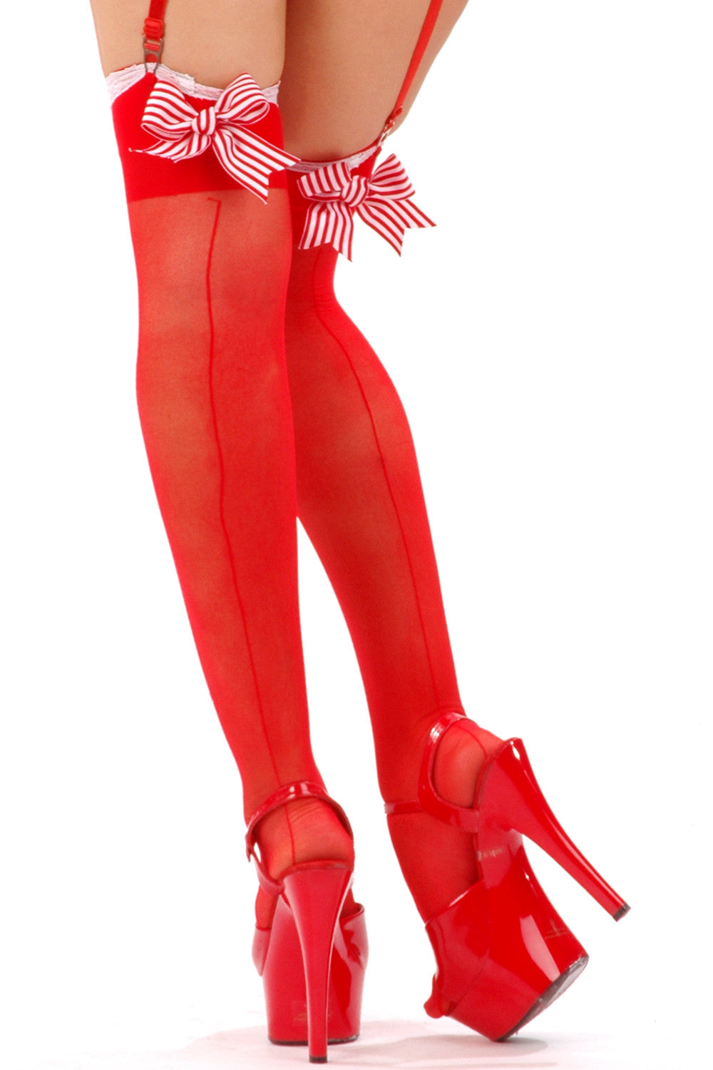Sheer Seamed Peppermint Stockings