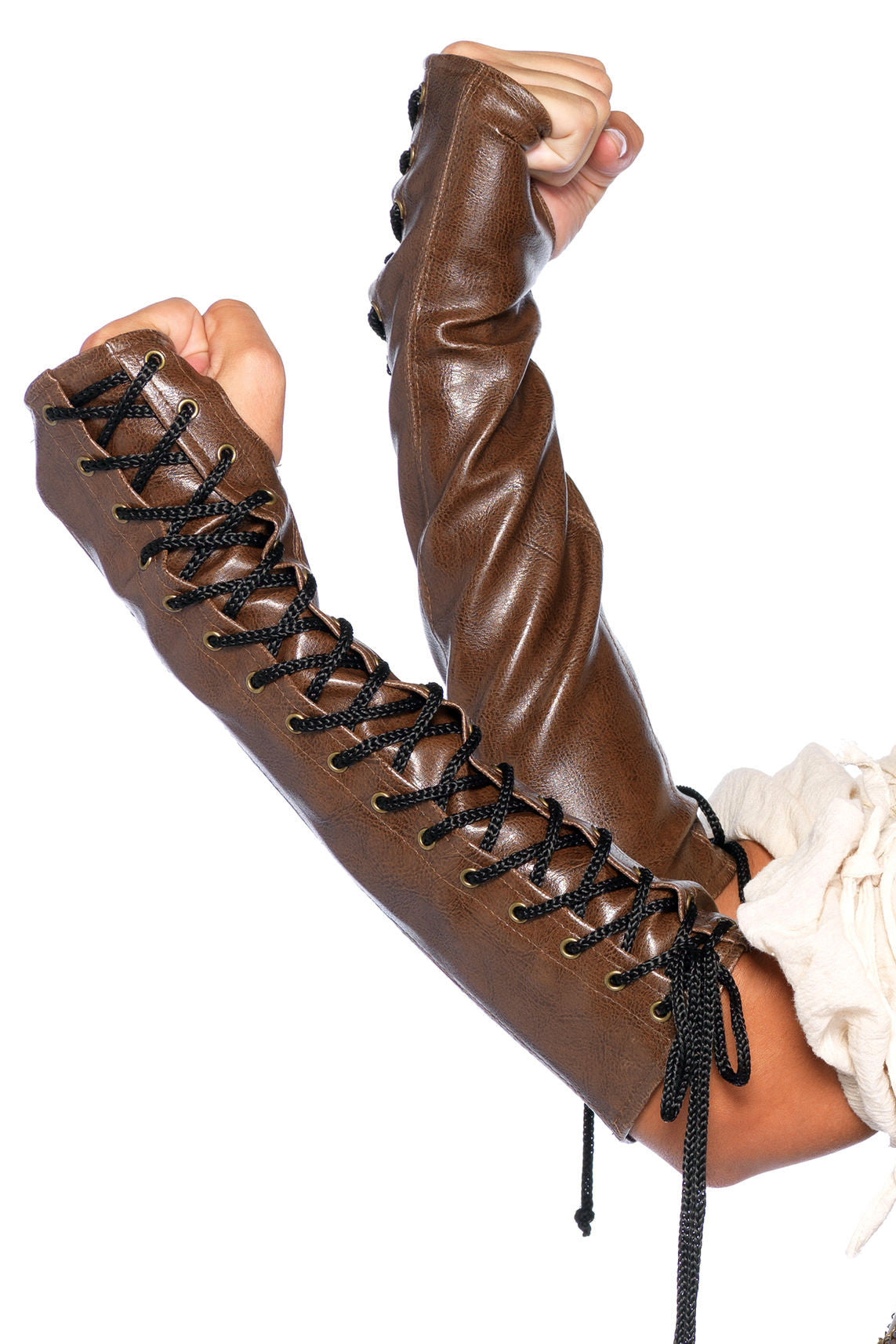 Faux Leather Lace-Up Gauntlets