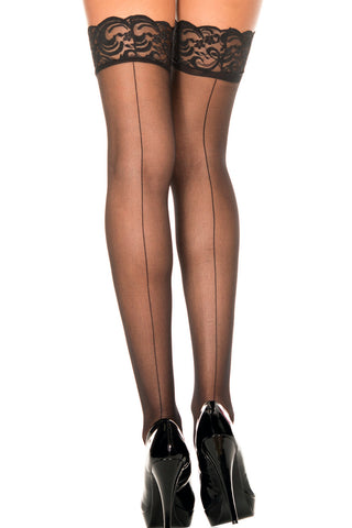 Sheer Seamed Lace Top Stockings