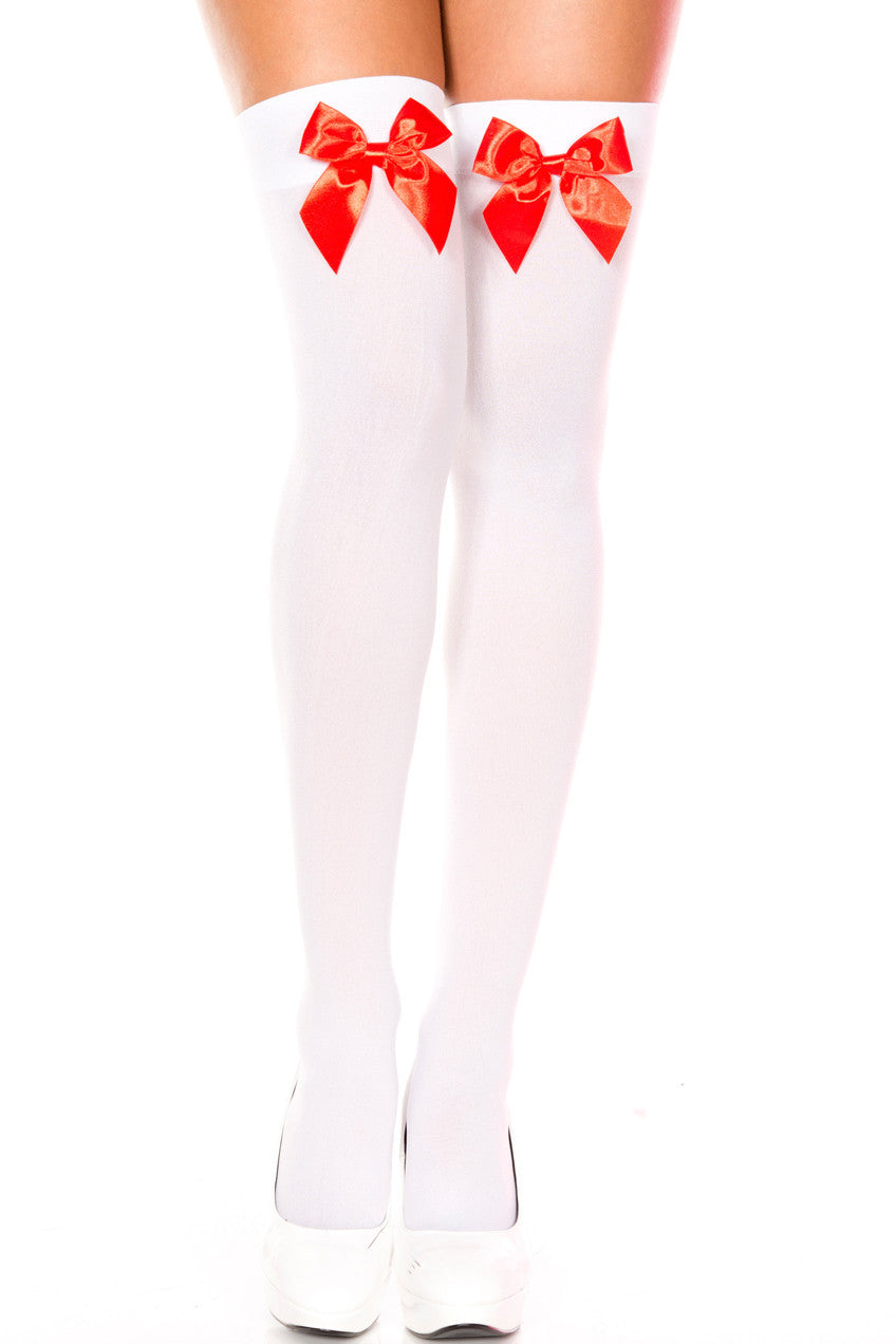 Bow Top Opaque Thigh Highs