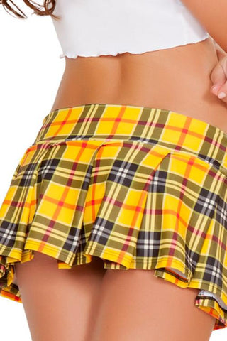 Spandex Pleated Plaid Mini Skirt