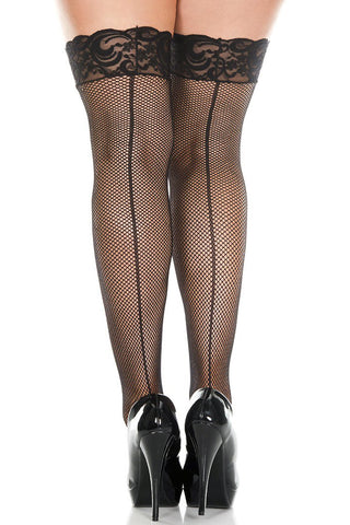 Seamed Lace Top Fishnet Stockings