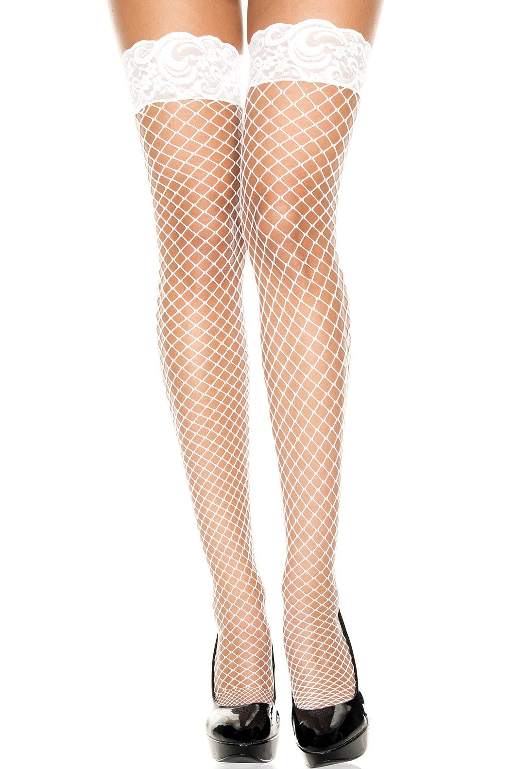 Lace Top Diamond Net Stay-Ups