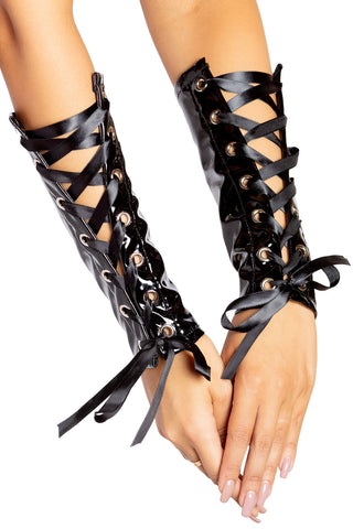 Lace-Up Vinyl Arm Cuffs