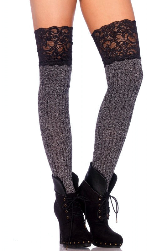 Lace Top Ribbed Knee Socks