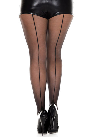 Sheer Seamed Cuban Heel Pantyhose