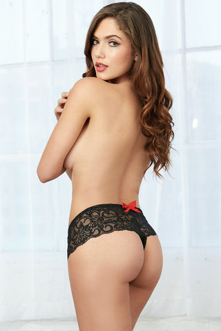 Lace Open Crotch Boyshorts