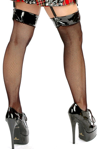 Reform School Vinyl Top Fishnet Thigh Highs