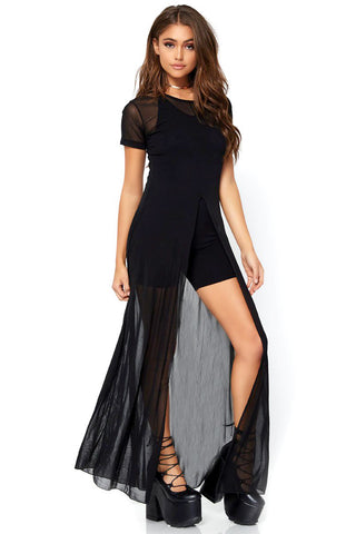 Sheer Mesh High Slit Dress
