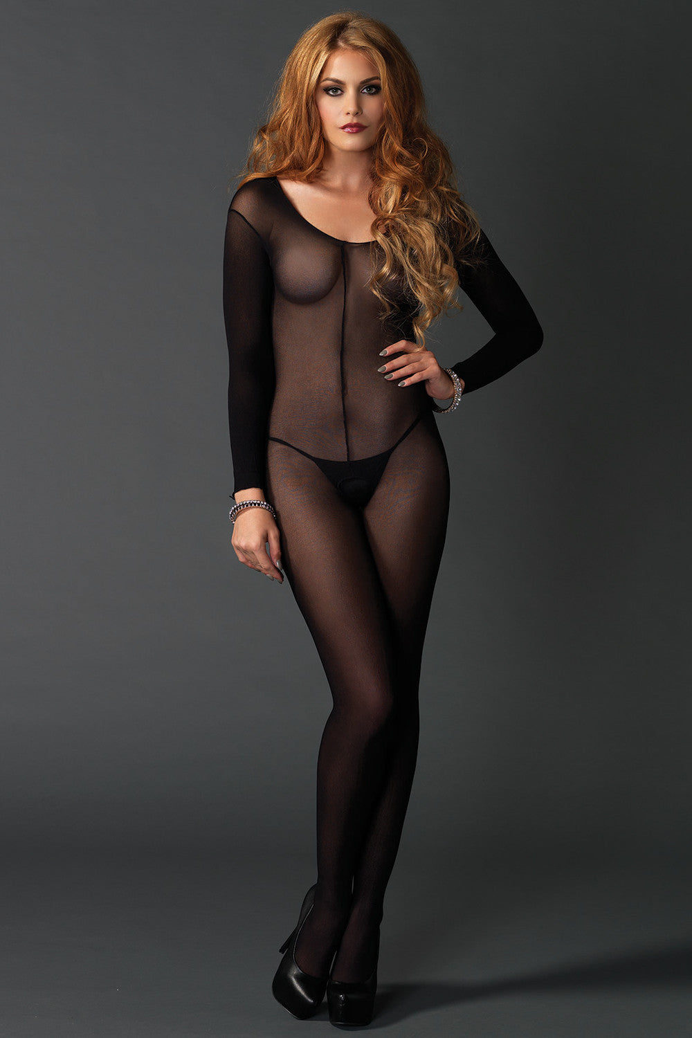Sheer Long Sleeve Scoop Neck Bodystocking