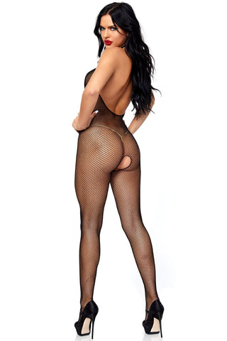 Cupless Fishnet Halter Bodystocking