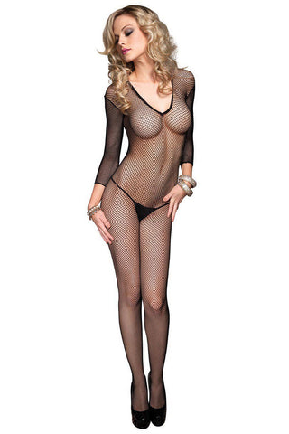 Fishnet Deep V Bodystocking