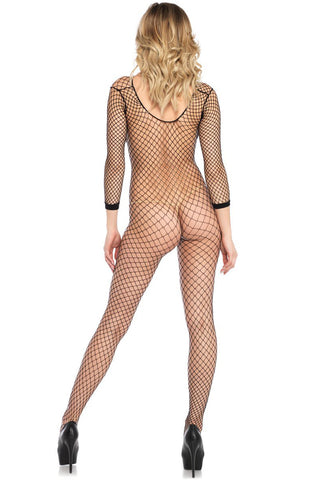 Long Sleeve Diamond Net Bodystocking