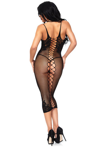 Seamless Lace-Up Back Net Dress
