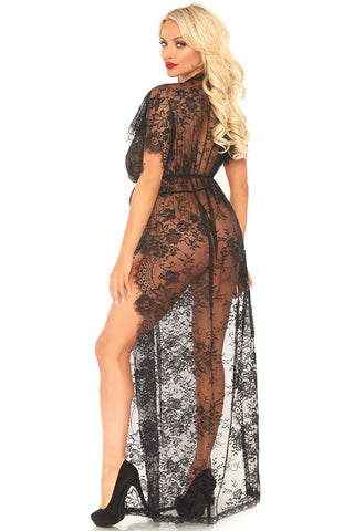 Eyelash Lace Caftan Gown