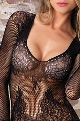 Floral Net Suspender Bodystocking