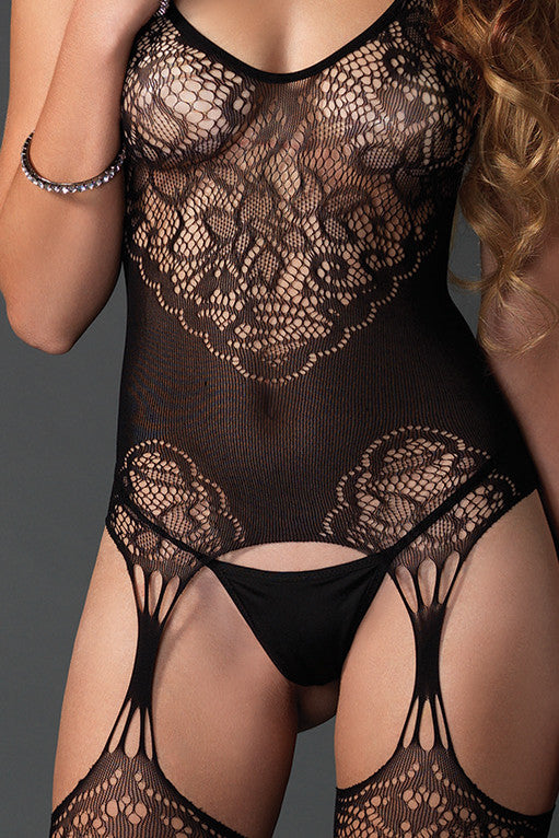 Seamless Lace Net Suspender Bodystocking