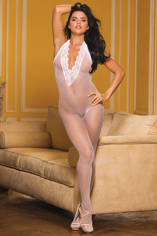 Eyelash Lace Fishnet Plunge Bodystocking