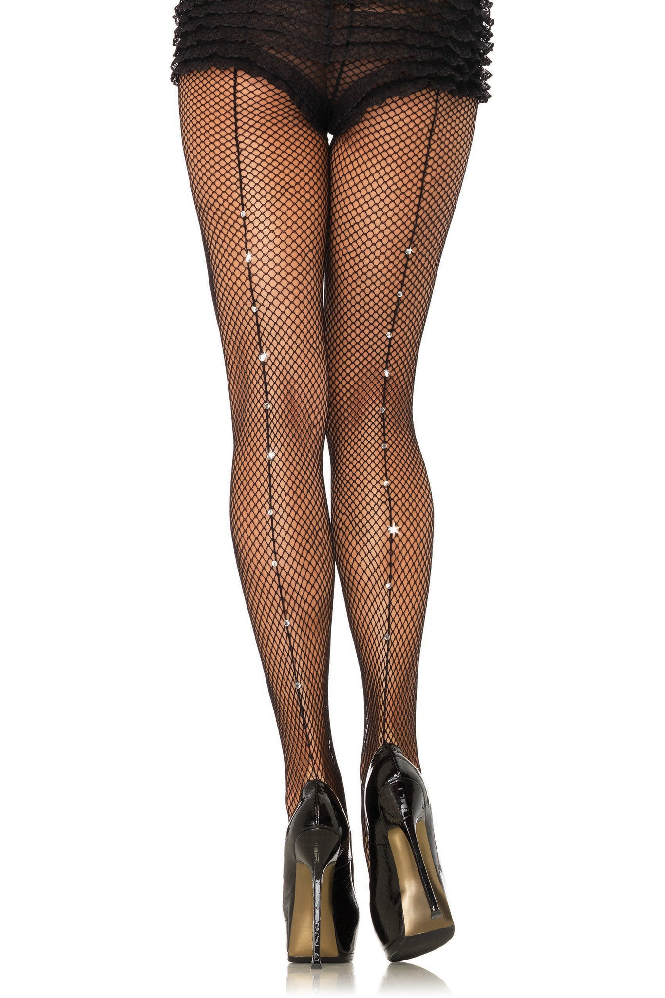 Rhinestone Seamed Fishnet Pantyhose