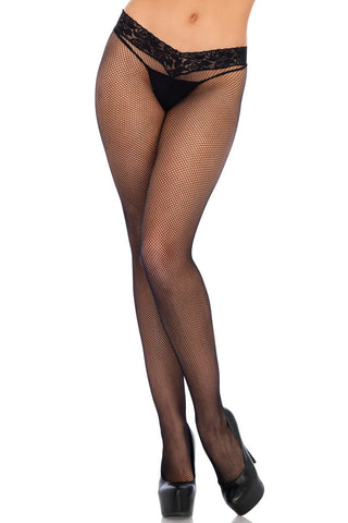 Low Rise Lace Band Fishnet Pantyhose