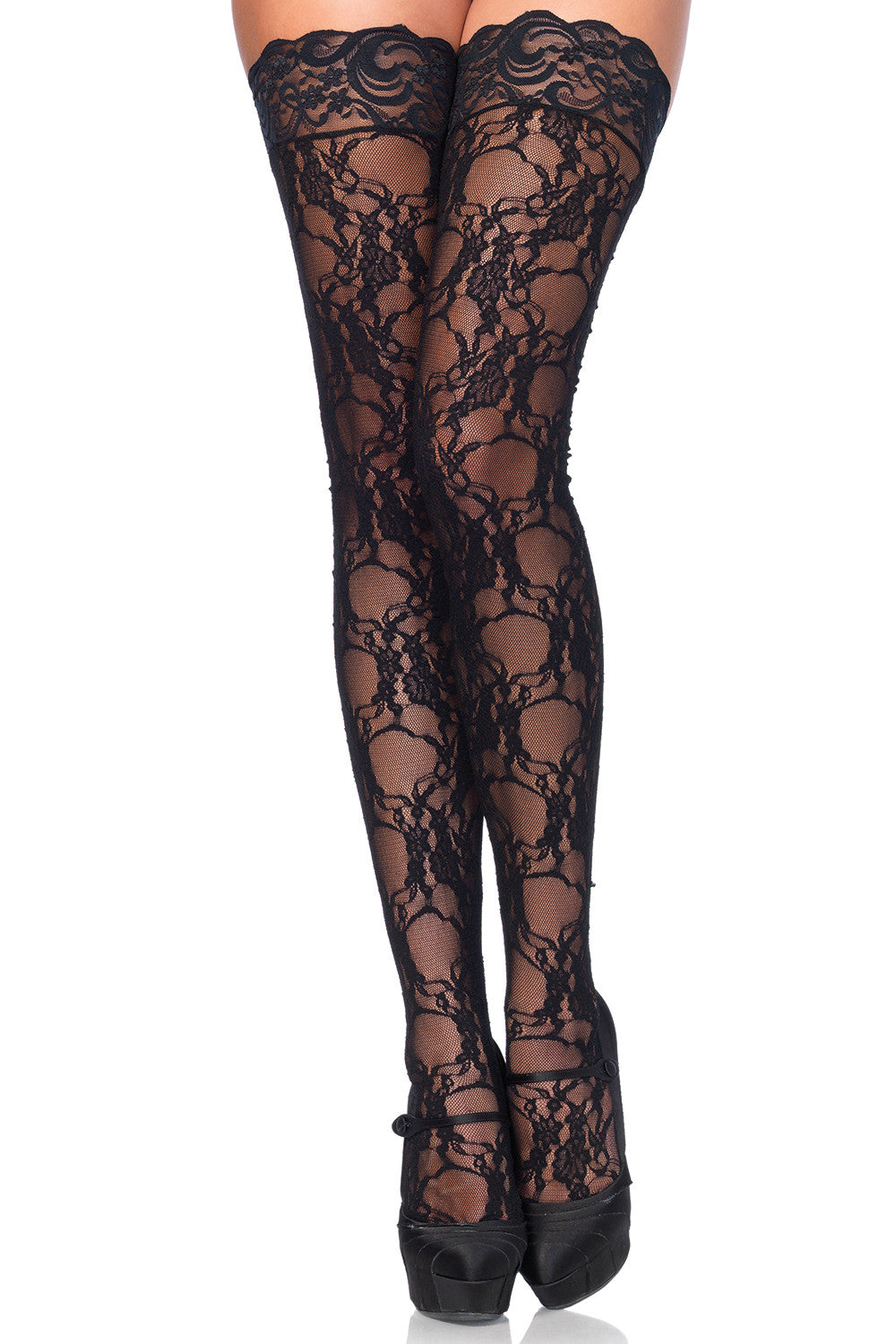 Floral Lace Thigh Highs