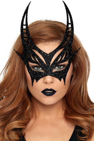 Black Glitter Devil Mask