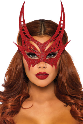 Red Glitter Devil Mask