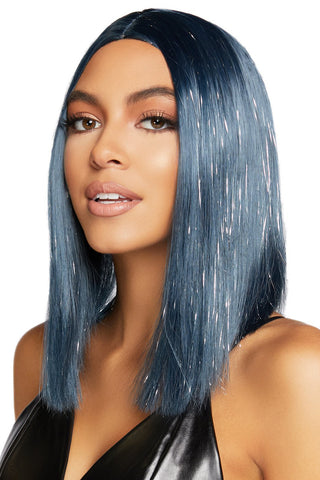 Long Straight Midnight Blue Bob Wig with Tinsel