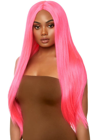 Long Straight Neon Pink Wig