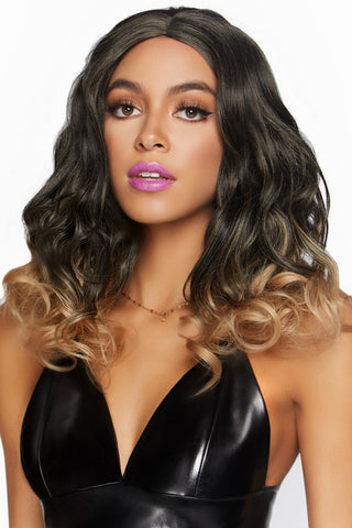 Long Curly Blond Ombré Bob Wig