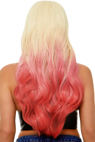Long Blond/Pink Ombré Wig