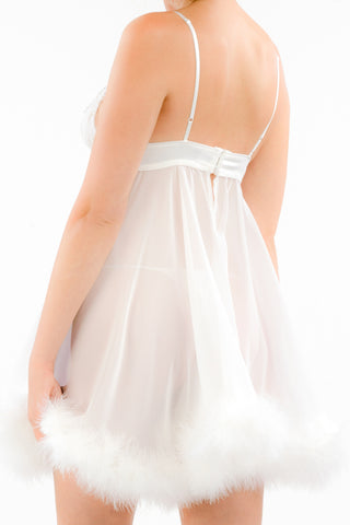 Bombshell Babydoll with Marabou Trim