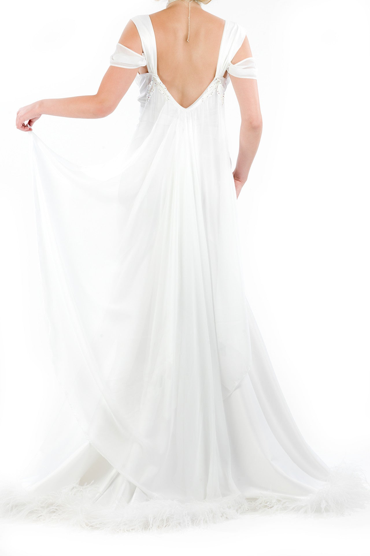 Bombshell Caped Gown with Ostrich Feather Trim