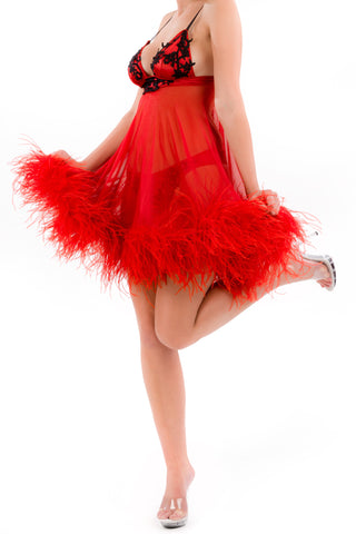 Bordello Babydoll with Ostrich Feather Trim
