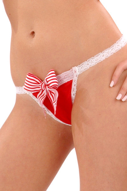 Simple G-String with Peppermint Bow