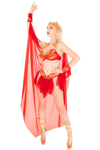 Flame Goddess Bra with Cape and Cuffs