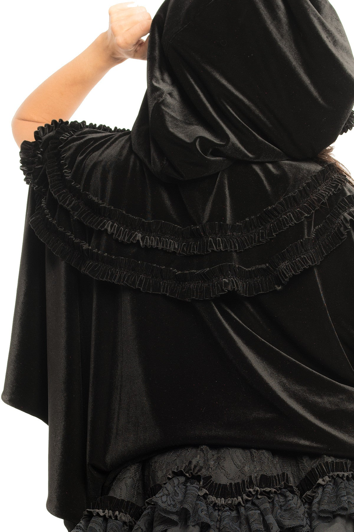 Black Velvet Riding Hood Cape