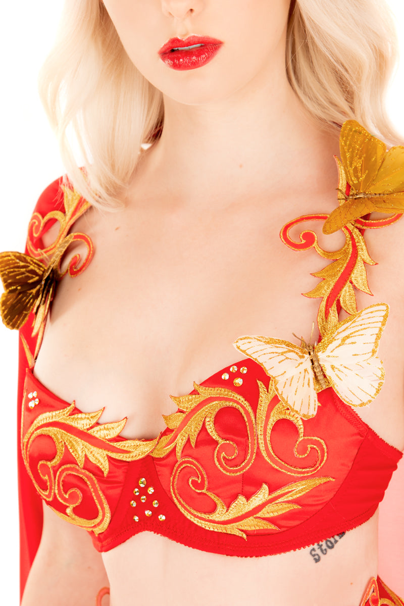 Butterfly Flame Goddess Bra with Cape and Cuffs