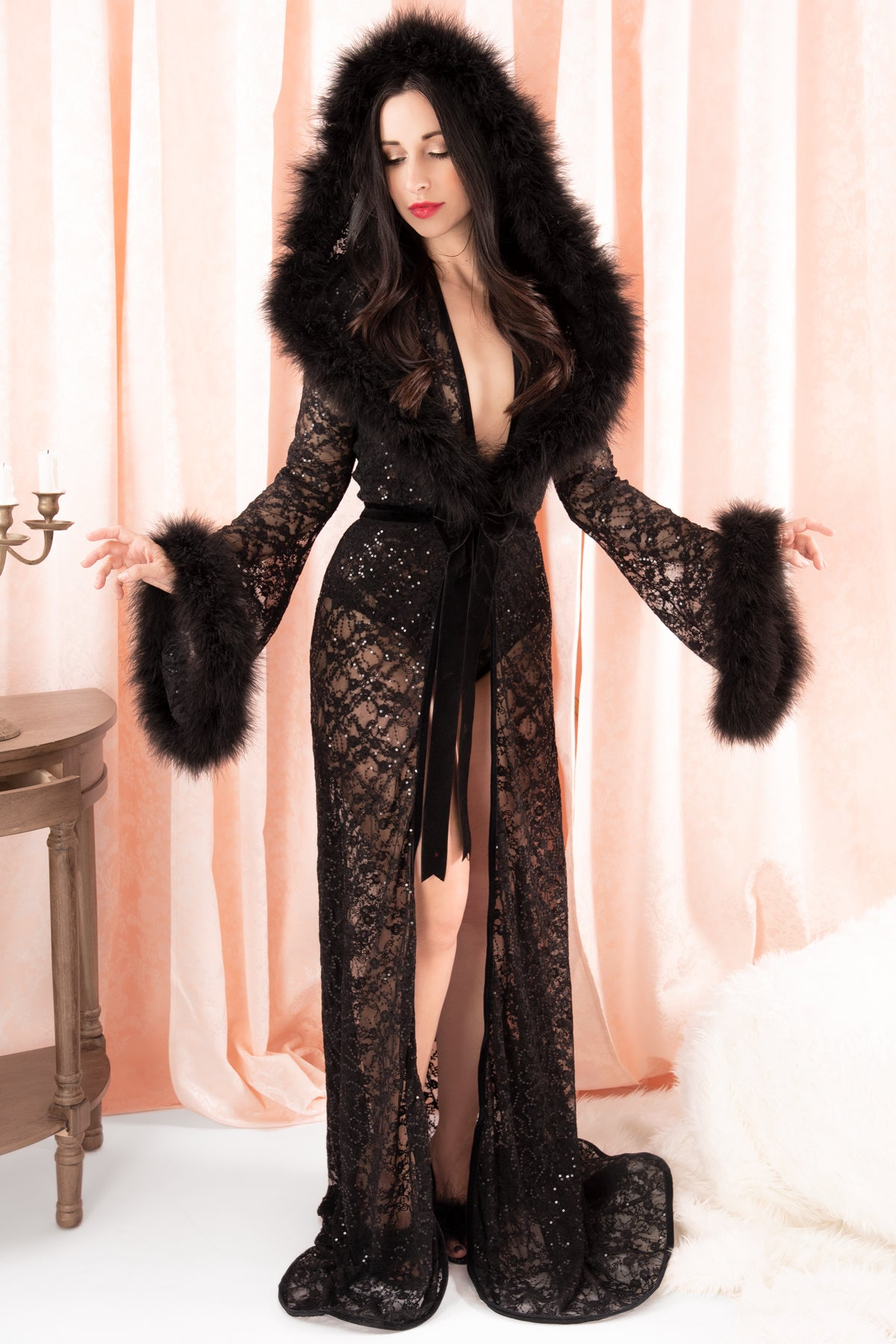 Sophie Long Hooded Plunge Robe