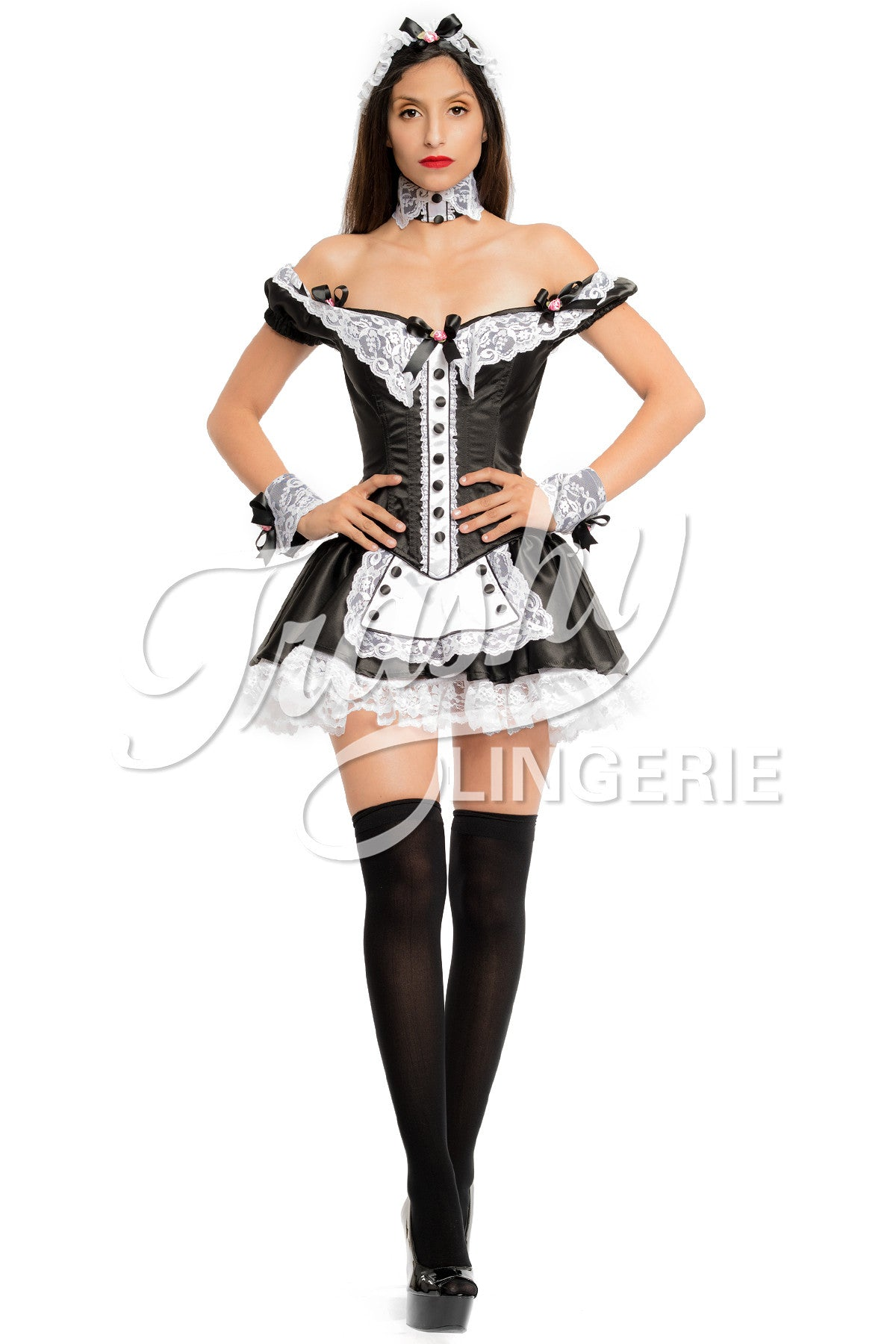 Button French Maid Dress  sc 1 st  Trashy Lingerie : vinyl french maid costume  - Germanpascual.Com