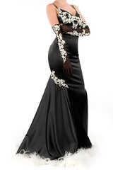 Bordello Gown with Ostrich Feather Trim