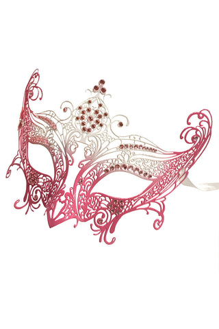 White & Pink Metal Filigree Mask