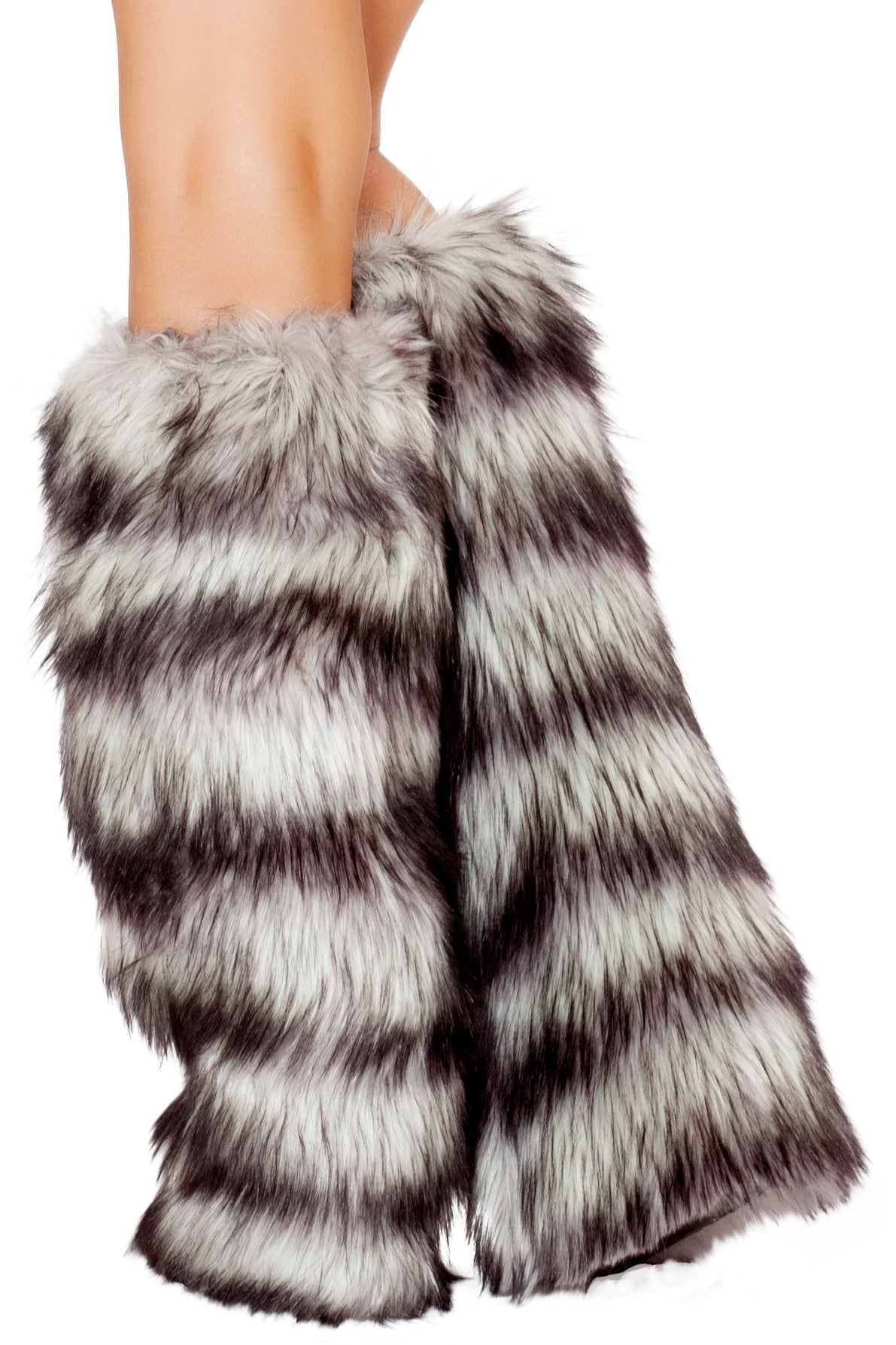 Striped Fur Leg Warmers