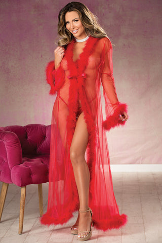 Long Sheer Marabou Feather Robe