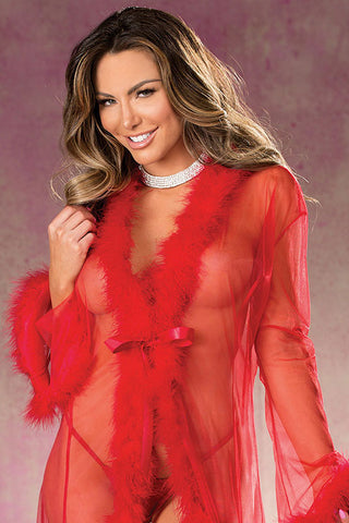 Short Sheer Marabou Feather Robe