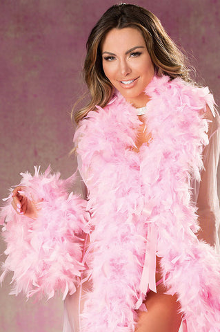 Short Sheer Chandelle Feather Robe