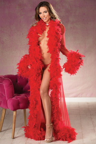 Long Sheer Chandelle Feather Robe