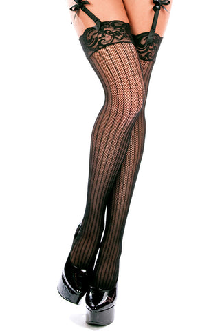 Striped Fishnet Stockings